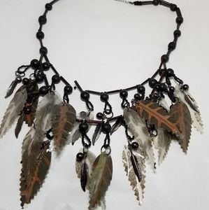 Beaded Fall Leaves Necklace